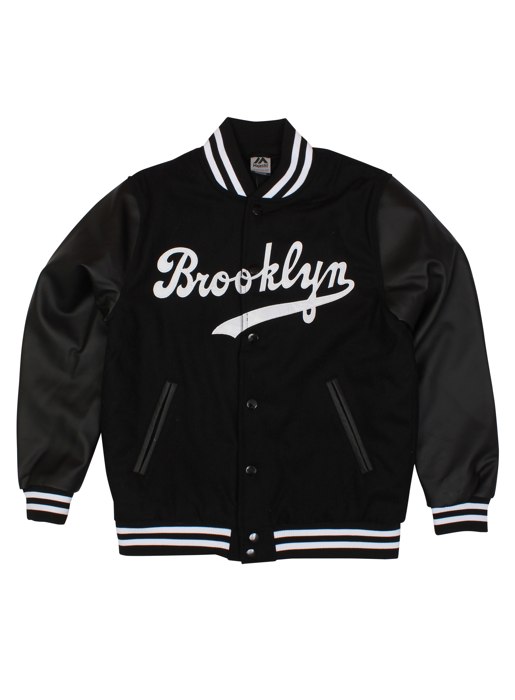 Majestic Casual Brooklyn Letterman Wool Varsity Jacket With Faux